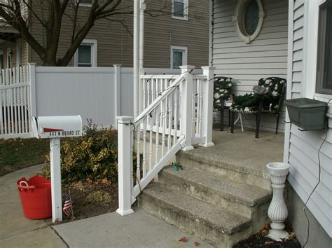 White Outdoor Stair Railing