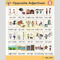 List Of Opposite Adjectives In English  Inglzc  English Adjectives, English Grammar Y Learn
