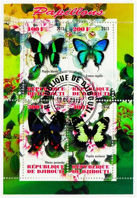 Four Postage Stamps Printed In Djibouti Shows Butterflies ...