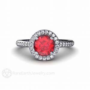 Ruby engagement ring diamond halo ruby ring custom wedding for Wedding rings with rubies and diamonds