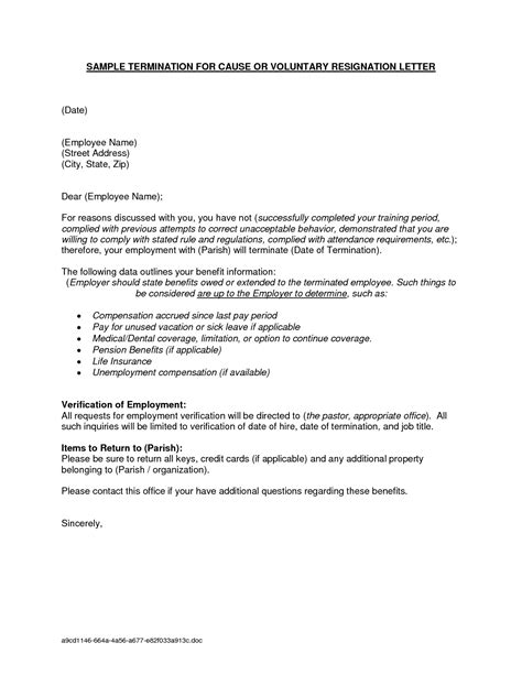 separation letter  employee template examples letter