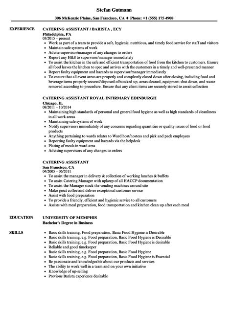 Kitchen Assistant Description Resume by Catering Resume