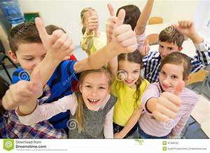 Group Of School Kids Showing Thumbs Up Stock Photo - Image ...