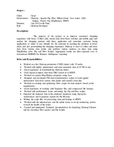 hadoop developer resume jobsxs