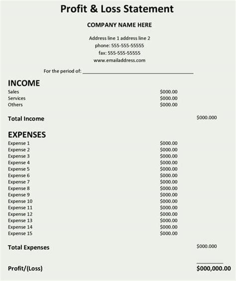 profit and loss statement template profit and loss statement template