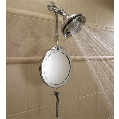 Mirror For The Shower - the telescoping fogless shower mirror hammacher schlemmer