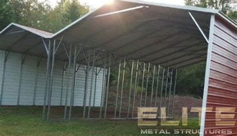 red double wide  frame carport elite metal structures