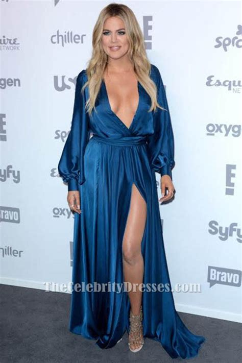 Khloe Kardashian Deep V-Neck Evening Dress 2015 ...
