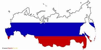 Russland Landkarte Fahne Karte Clipart Rusland Flag