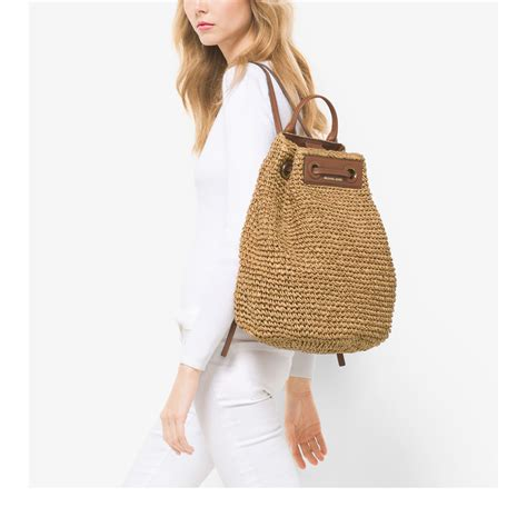 lyst michael kors krissy large straw backpack  natural