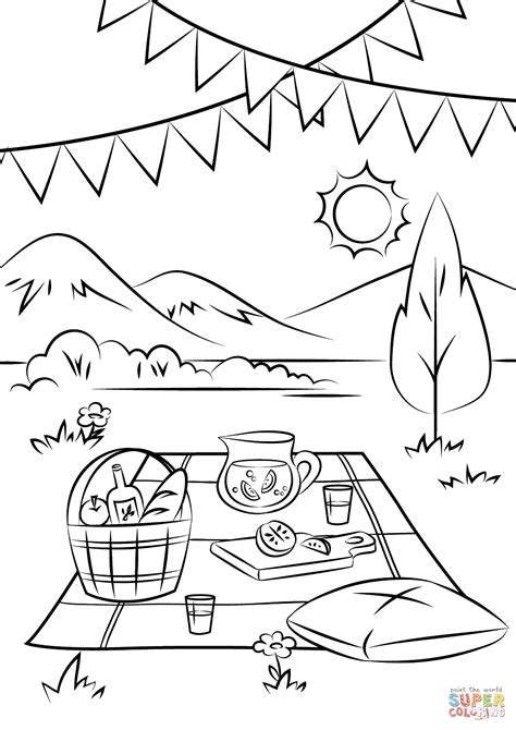picnic coloring pages picnic coloring page free printable coloring pages