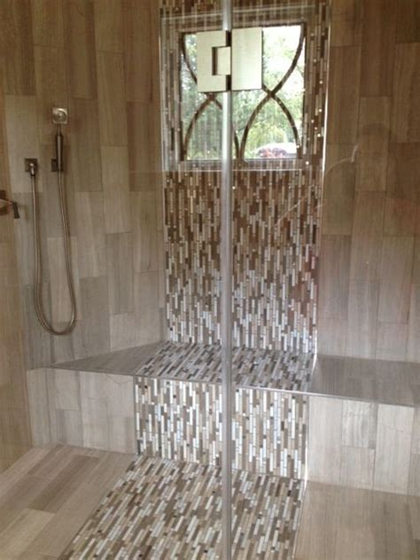 waterfall tile design in the shower bathrooms