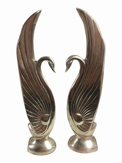 Swan Deco Sculptures Pair Chairish Influenced Brass