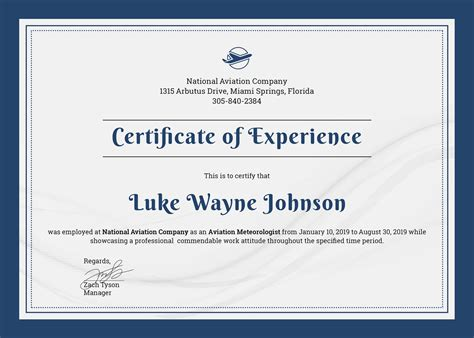 Company Certificate Template by Free Company Experience Certificate Template In Adobe