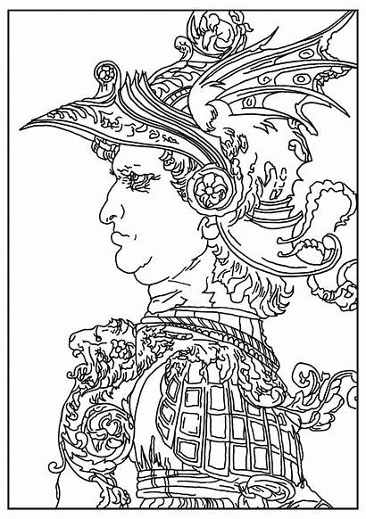 Vinci Leonardo Coloring Da Pages Warrior Helmet