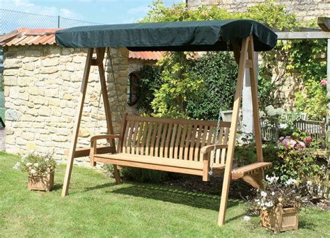 Teak Garden Swing Seat  Side Tables  Detachable And