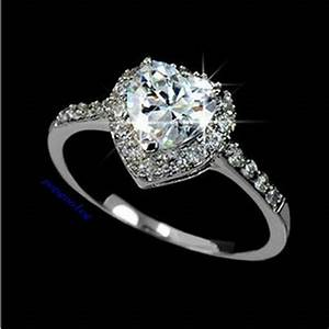 18k white gold gp austria crystal heart wedding engagement With crystal wedding ring