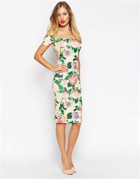 bardot flower dress lyst asos bardot midi bodycon floral dress