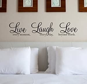 Wall sticker live love laugh letters transprent waterproof vinyl decal. Wall Art Quote Sticker - 'Live Laugh Love' WA088X - BLACK: Amazon.co.uk: Kitchen & Home