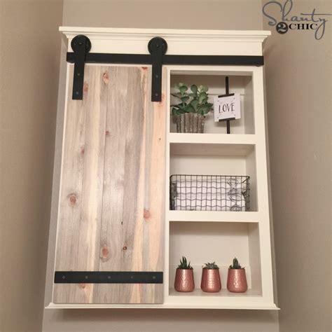 diy bathroom cabinets diy sliding barn door bathroom cabinet shanty 2 chic