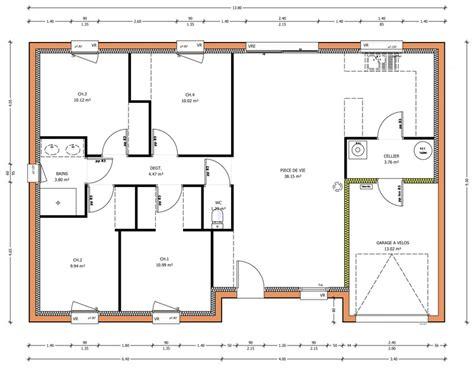 plan maison 5 chambres plain pied plan maison plain pied en u gratuit ventana