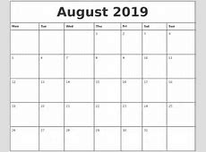 August 2019 Printable Calendar printable calendar yearly