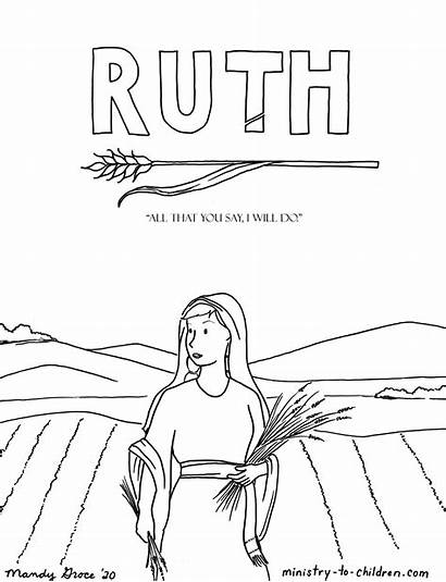 Coloring Ruth Bible Worksheets Math Children Ministry
