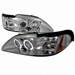 1994-1998 Ford Mustang Halo LED Chrome Projector Headlights - 2LHP-MST94-TM