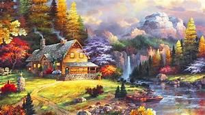1920x1080, Beautiful, Garden, Waterfall, River, Cottage