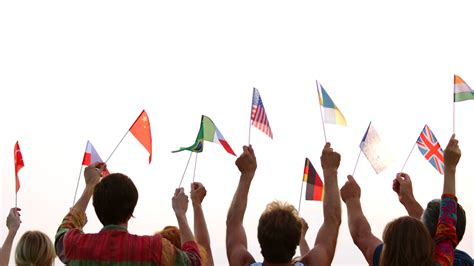 People of different nationalities holding their flags ...