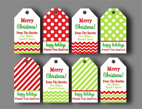personalized christmas gift tags printable or printed