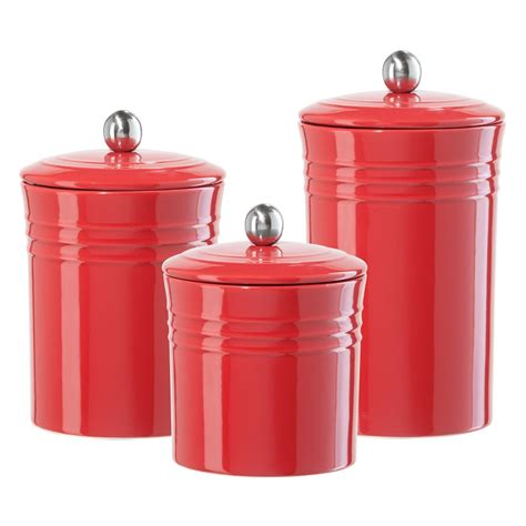 It comes with an amazing sort of sizes, shapes, colors and designs, and they create it simple to dress your kitchen. canister sets | The ribbed ceramic canister collection is a available in three sizes ... | Red ...