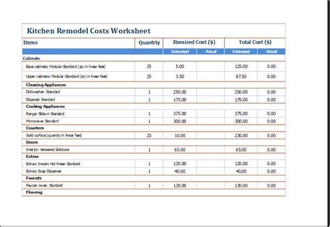 kitchen remodel cost calculators word templates