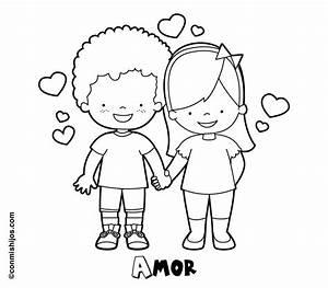 Dibujo De Nios Enamorados Para Pintar En San Valentn