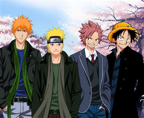 anime series naruto bleach fairy tail  piece charcters