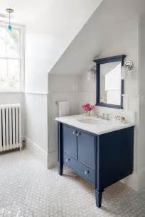 navy washstand with navy mirror