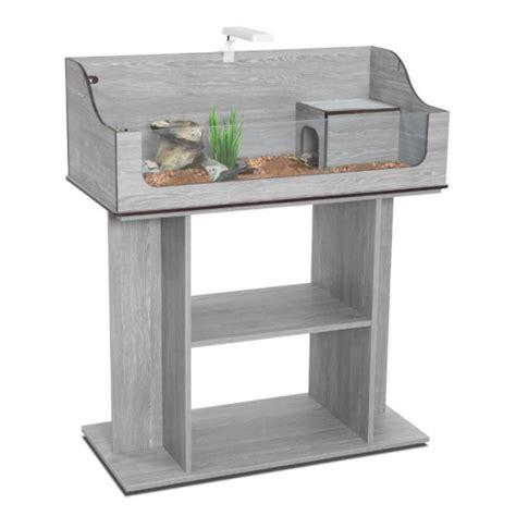 terrarium et meuble bois tortum 75 gris vein 233 pour tortues
