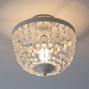 Lampe Mit Kristallen : deckenlampe chateau wei shabby chic deckenleuchte mit kristallen kronleuchter ~ Orissabook.com Haus und Dekorationen