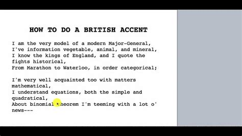 How To Do A British Accent Video Youtube