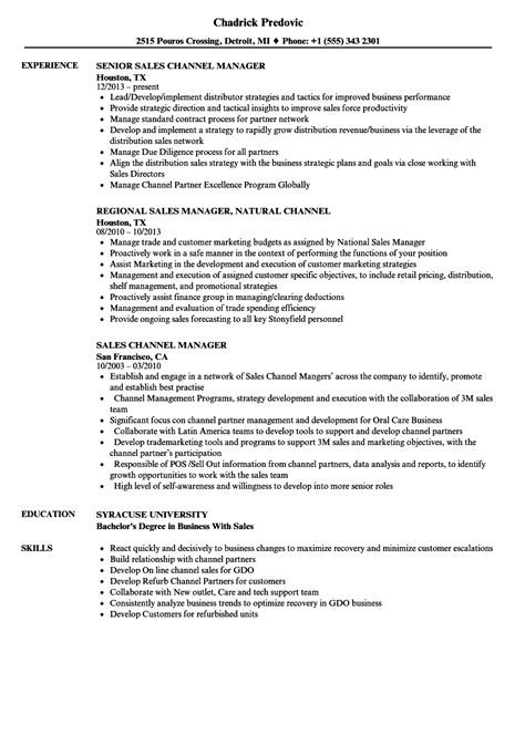 Channel Sales Manager Resume Sle by Sales Channel Manager Resume Sles Velvet
