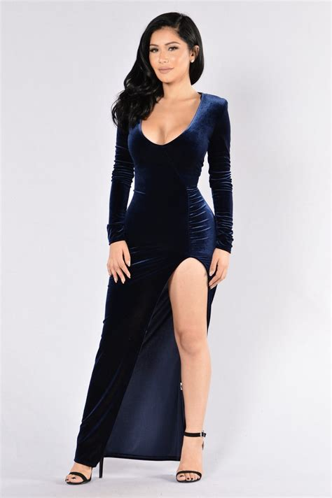 Love Sex Magic Velvet Dress Navy