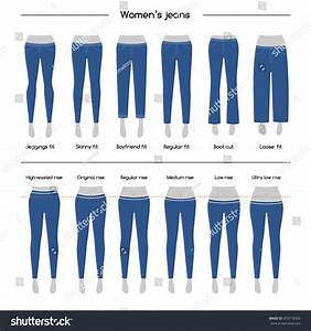 Set Basic Types Womens Jeans Types Stock Vector 474718309