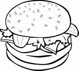 Hamburger Clip Burger Outline Clipart Coloring Clker Drawing Hamberger sketch template