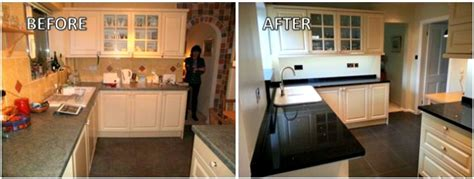 before and after photos of painted kitchen cabinets before and after a knutsford kitchen makeover cheshire 9888