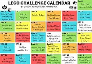LEGO Challenge Calendar Free Printable LEGO STEM for Kids
