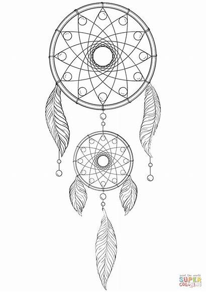 Catcher Dream Coloring Dreamcatcher Mandala Pages Drawing
