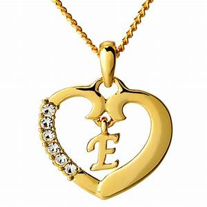 heart necklace letter 39e39 18k gold plated jewelry gifts With letter e pendant necklace