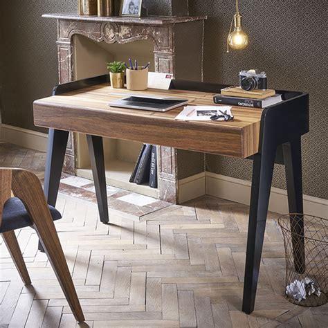 bureau bois noir bureau bois laqué noir design noyer pablo retro
