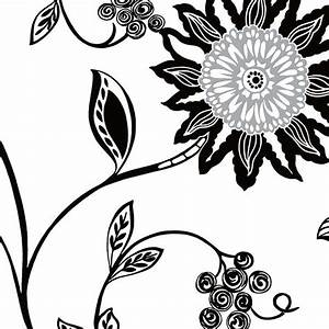 Black and White Contemporary Floral Wallpaper, Sample ...