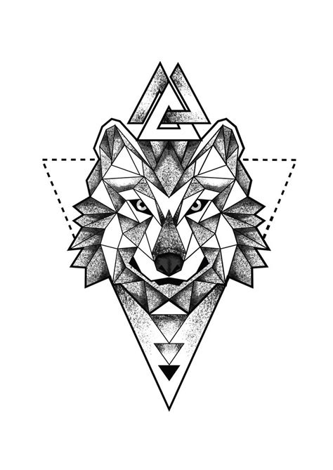 geometric tattoo geometric wolf head portrait triangles